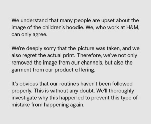 H&M Instagram Apology